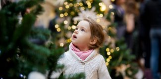Little girl with Christmas Trees